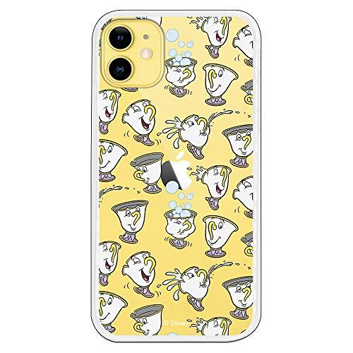 Funda para iPhone 11 Oficial de La Bella y la Bestia Chip Potts Siluetas para Proteger tu móvil. Carcasa para Apple de Silicona Flexible con Licencia Oficial de Disney.
