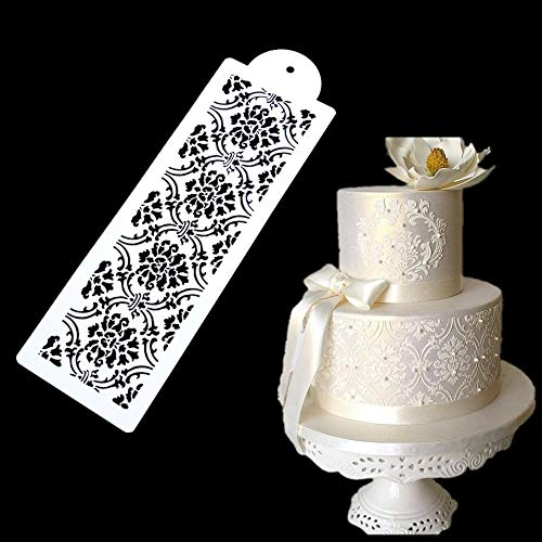 ECOSWAY 1 Stück Hochzeit Kuchen Side Border Spritzen Dekoration Schablone Kuchen Spitze Dekoration Form DIY Fondant Kuchen Zucker Sieb Dekorieren Werkzeug