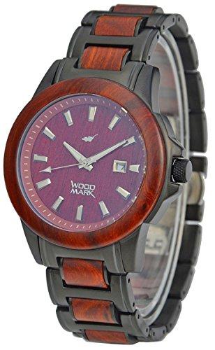 Wood Mark Relojes Chesapeake 7806 - Acero inoxidable negro y madera de sándalo rojo