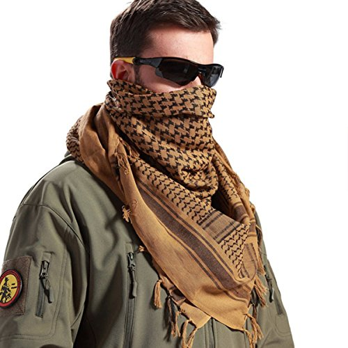 FREE SOLDIER 100% Cotton Military Shemagh Tactical Desert Keffiyeh Head Neck Scarf Arab Wrap with Tassel 43x43 inches(Coyote Brown)