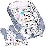 5tlg. PALULLI Premium Kuschelnest Set inkl. Babynest 90x50 Herausnehmbare Einlage Kuscheldecke Nackenkissen Flachkissen für Babys, 100% Baumwolle OEKO TEX (BAMBI II)
