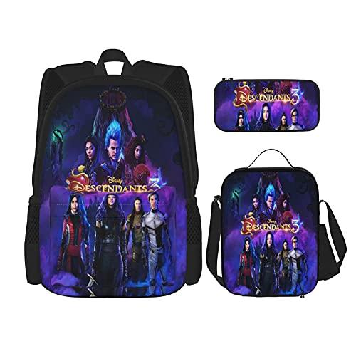 Amacigana des_Cendants Ensemble de 3 sacs à dos d'écolier pour l'école primaire et High School Unisexe Sac à dos d'écolier avec sac à déjeuner isotherme et trousse, Style 04,