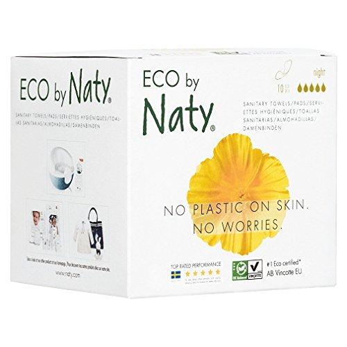Eco by Naty, Serviettes hygiéniques, Nuit, 10 serviettes.  Absorbant. Fabriquées à partir de fibres végétales. Vegan. 0% plastique.