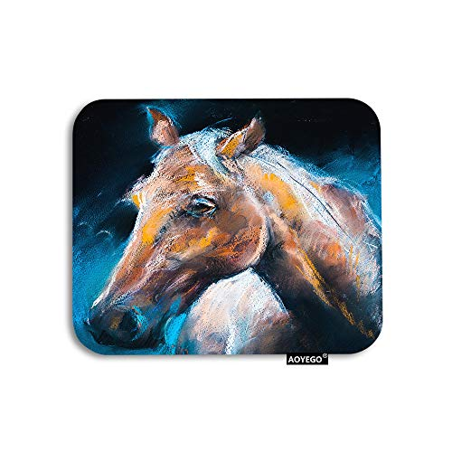 AOYEGO Horse Mouse Pad Watercolor Painting Wild Animals Brown Horses Head Gaming Mousepad Rubber Large Pad Non-Slip for Computer Laptop Office Work Desk 9.5x7.9 Inch