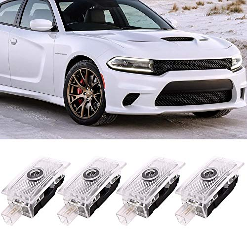 Shadow Puddle Lamp Compatible with Dodge Challenger SRT Scat Pack Demon Charger Hellcat RT Super Bee Car Logo Door Light LED Ghost Shadow Emblem Projector Lamp Courtesy Welcome Lights