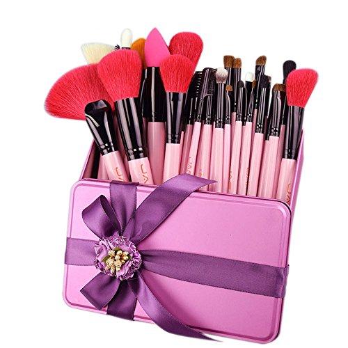Necesidades de la familia 32 UNIDS Pinceles de Maquillaje Rosa Juego de Cepillos de Maquillaje de Cabello de Cabra Realistas Rojos en Caja de Regalo, Enviando Su Mejor Regalo de Cumpleaños