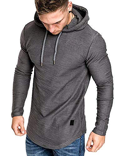 lexiart Mens Fashion Athletic Hoodies Sport Sweatshirt Solid Color Fleece Pullover Dark Grey L