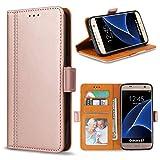 Bozon Galaxy S7 Hülle, Leder Tasche Handyhülle Flip Wallet Schutzhülle für Samsung Galaxy S7 mit Ständer & Kartenfächer/Magnetverschluss (Rose Gold)