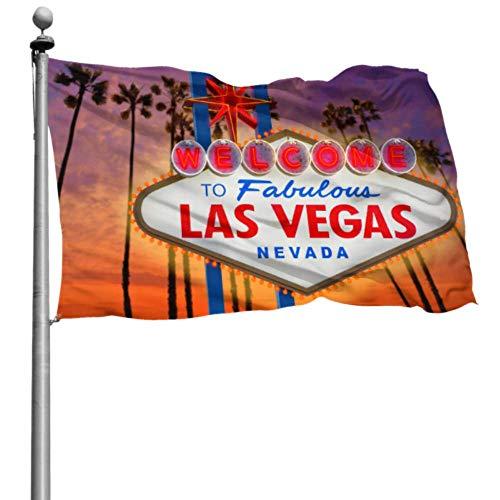 Decoración de la fiesta de la bandera Letrero y palmera de Las Vegas con decoraciones de la bandera de la puesta del sol Conjunto de banderas de patio de vacaciones para niños 4x6 pies (120x180 cm) P