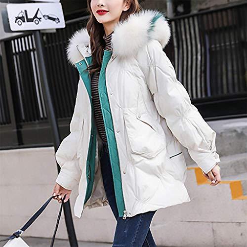 ZZCLOTH Piumino Invernale da Donna Cappuccio Staccabile Caldo Imbottito in Piuma D'Anatra Bianca per Una Facile Piegatura,White-M