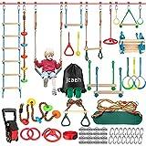 Ninja Warrior obstáculos curso para niños, resistente a la intemperie 54 pies Ninja Slackline con 14 obstáculos accesorios que incluye columpio, escalera, rueda giratoria y equipo de entrenamiento seguro al aire libre Ninja Warrior