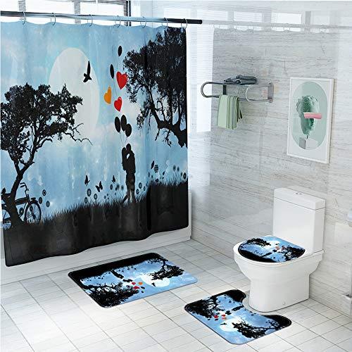LAOSHIZI Alfombrillas de baño Suave impresión Antideslizante Cortina de la Ducha 4 Piezas Azul