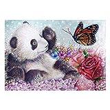 Panda Butterfly DIY 5D - Kit de pintura de diamante, taladro completo, bordado de punto de cruz, lona de arte, para decoración de pared en casa, para adultos y niños