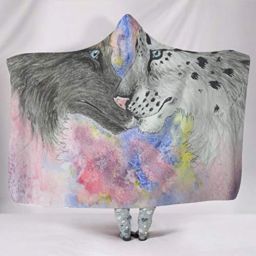 Pintura de acuarela, tigre y lobo, muy suave, con capucha, creativa 3D, ordenador para televisión, color blanco, 130 x 150 cm