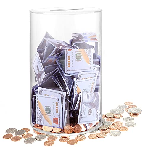 """ARIAL Piggy Bank for Adults Break to Open, Clear Piggy Bank Savings Jar Cash and Coin, Perfect Size 10"""" H x 6"""" Diameter for Adults Kids Birthdays Home Decoration (Large)"""