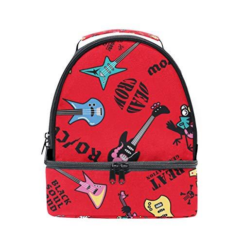 alinlo Heavy Musik Gitarre Isolierte Lunch Tasche Tote Box mit verstellbarem Schultergurt für pincnic Schule