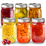 Sungwoo Mason Jars, Canning Jars 16 ounces, 6 PACK, with Sealed and Straw Lid, Ideal for Juice, Jam, Honey and Spice, Wedding Favors, Shower Favors, Baby Foods