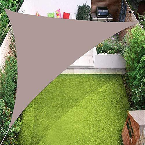 YTQ - Toldo de triángulo impermeable para jardín, patio, piscina al aire libre con ojal y tres cuerdas de toldo de 3 x 3 x 3 m (color caqui)