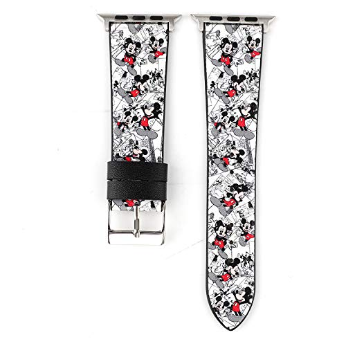 Lovely Cartoon Style Leather Girls Boys Replacement Band Compatible with Apple Watch Series 4 40mm and Series 3/2/ 1 38mm - White Mickey
