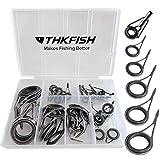thkfish Rod Repair Kit Rod Tip Repair Kit Ceramics Tips Stainless Steel Carbon Spinning Rod Guides Fishing Rod Repair Kit Burnished Silver 35pcs