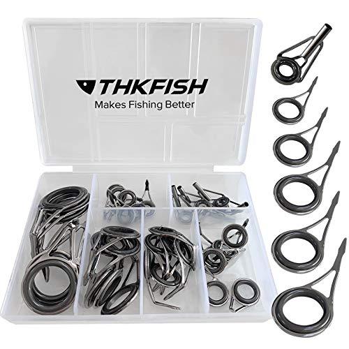 THKFISH Kit de reparación de cañas de Pesca Spinning Guías de caña de Pesca Kit de reparación de Punta de Varilla Acero Inoxidable Guía de Anillo de cerámica Plata bruñida - Marco 35 Piezas