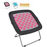 REDCAMP Webbed Bungee Chair for Teens Kids Games, Folding Moon Saucer Chair Bunjo Chair for Adults Outddor Camping Indoor Bedroom Use, Pink