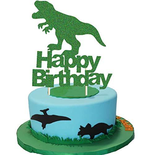 Dinosaur Cake Topper Green Glitter T-Rex Happy Birthday Party Cake Decor Dino Jungle Jurassic Dinosaur Themed 1st 2nd 3rd 4th Birthday Party Cake Supplies Decorations