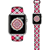 LAACO Silicone Sport Bands Compatible with Apple Watch 40mm for Women, Floral Sport Band, Red Plaid Fadeless Pattern Printed Replacement Strap Bands Compatible with iWatch 38mm Series 5 4 3 2 1