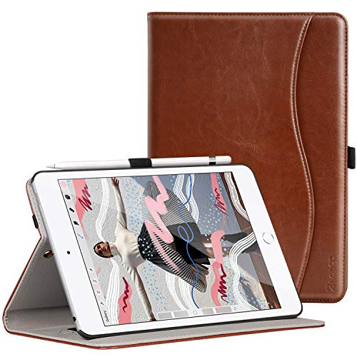 Ztotop for iPad Mini 5 Case, Leather Folio Stand Protective Case Smart Cover with Multi-Angle Viewing, Paperwork Card Pocket, Functional Elastic Strap for iPad Mini 5th Gen 2019 - Brown
