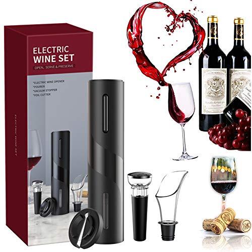 Set cavatappi elettrico,apribottiglie vino professionale 4 in 1 automatico in abs Cavatappi automatico Apribottiglie per vino Versatore aeratore per vino per feste