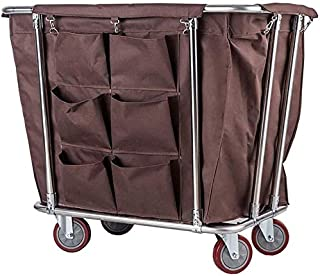 JCY Laundry Hamper Sorter Cart with Wheels, Hotel Housekeeping Rolling Laundry Basket Bin with Spacious Bag, Medical Cart Commercial (Color : Brown)