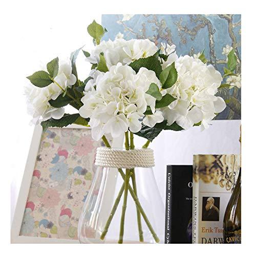 Famibay Seidenblumen Hortensie Künstlich Weiß 3 Stück Seide Gefälschte Blume Hortensie Blumenstrauß für Dekoration(Weiß)