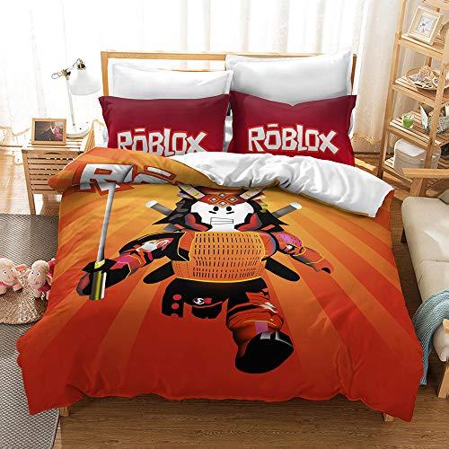 NICHIYO Roblox Juego de ropa de cama – Funda de edredón y funda de almohada de microfibra, impresión digital 3D (funda nórdica + fundas de almohada) (21,individual 135 x 200 cm)