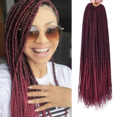 VRHOT 6Packs 18'' Box Braids Crochet Hair Small Synthetic Hair Extensions Twist Crochet Braids Hairstyles Braiding Hair Style Long Dreadlocks for Black Women 18 inch (18 inch, T1B/BG)