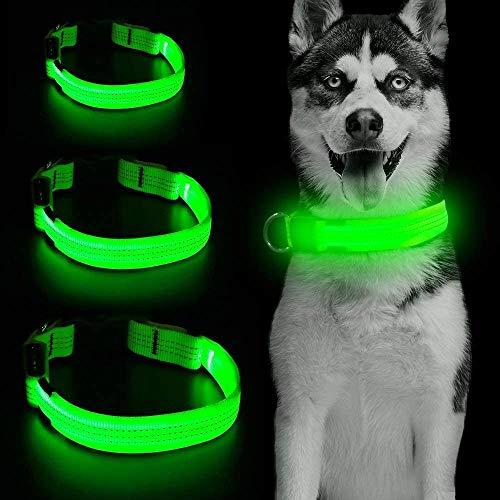 Collar de perro LED micro USB recargable con 3 cables reflectantes, de seguridad, ajustable, correa de nailon suave para perros pequeños, medianos y grandes (M, verde)