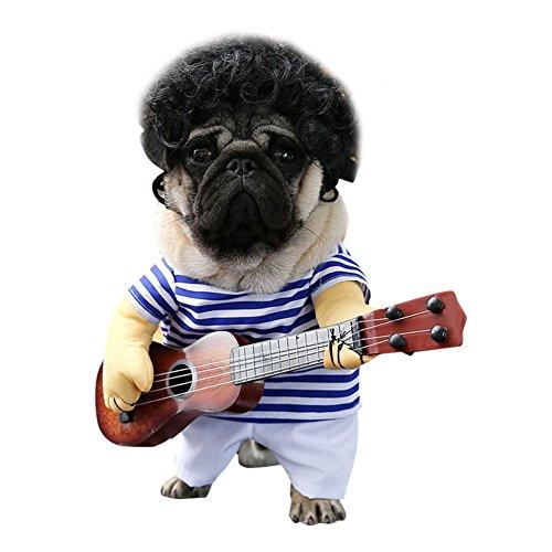 Petalum Pet Kostüm Gitarrist Party Festival Verkleiden Funny Sänger Hundekleidung Cartoon Bekleidung Cute Cosplay Hund Katze Kleid (Sänger, XL)