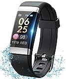 SANAG Smart Watch, E-CG Fitness Activity Tracker mit Herzfrequenzmesser SpO2 Sleep GPS Step Fitness Armband, IP67 Wasserdichtes Sportband für Damen Herren Anruf SMS Beachten für iOS Android (F10)