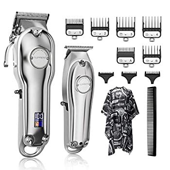 SUPRENT Hair Clippers for Men Cordless Hair Cutting Kit & T-Blade Trimmer Kit Professional Barber Kit with LED Display For Family