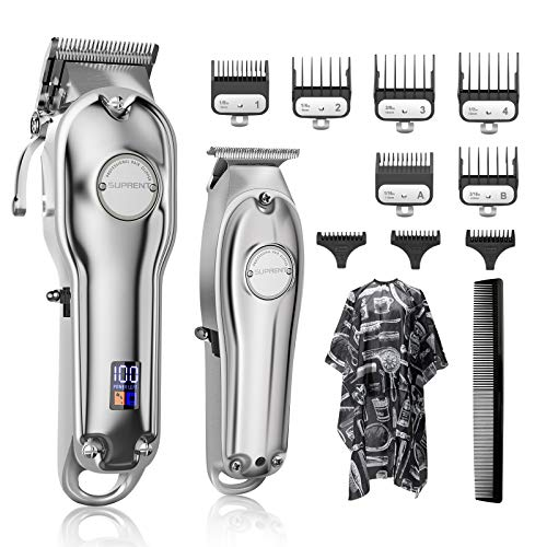 Hair Clippers for Men SUPRENT Cordless Hair Cutting Kit & T-Blade Trimmer Kit, Professional Barber Kit with LED Display For Family