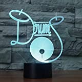 3D LED Night Light Drum Set 7 Cambio de color Baby Night Light 3D Lámpara de mesa 3D Illusion Bulbing Night Lamp 7 colores Cambio de regalo