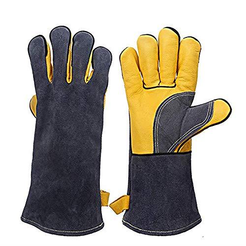 WANGLXST BBQ lederen handschoenen, hittebestendig met lange mouwen voor Grill open haard lasser Barbecue Oven hout kachel koken bakken