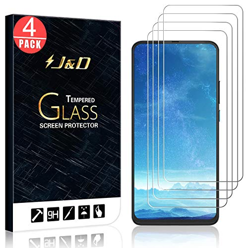 J&D Compatible for Motorola Moto One Hyper Glass Screen Protector (4-Pack), Not Full Coverage, Tempered Glass HD Clear Ballistic Glass Screen Protector for Moto One Hyper Glass Film
