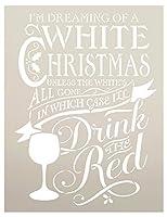 """StudioR12 ホワイトクリスマスステンシル クリスマスとワインをテーマにしたワードアート 再利用可能なマイラーテンプレート付き 絵画 チョークミックスメディア 工芸 DIYホームインテリア クローズサイズ 12"""" x 16"""" STCL606_PARENT"""