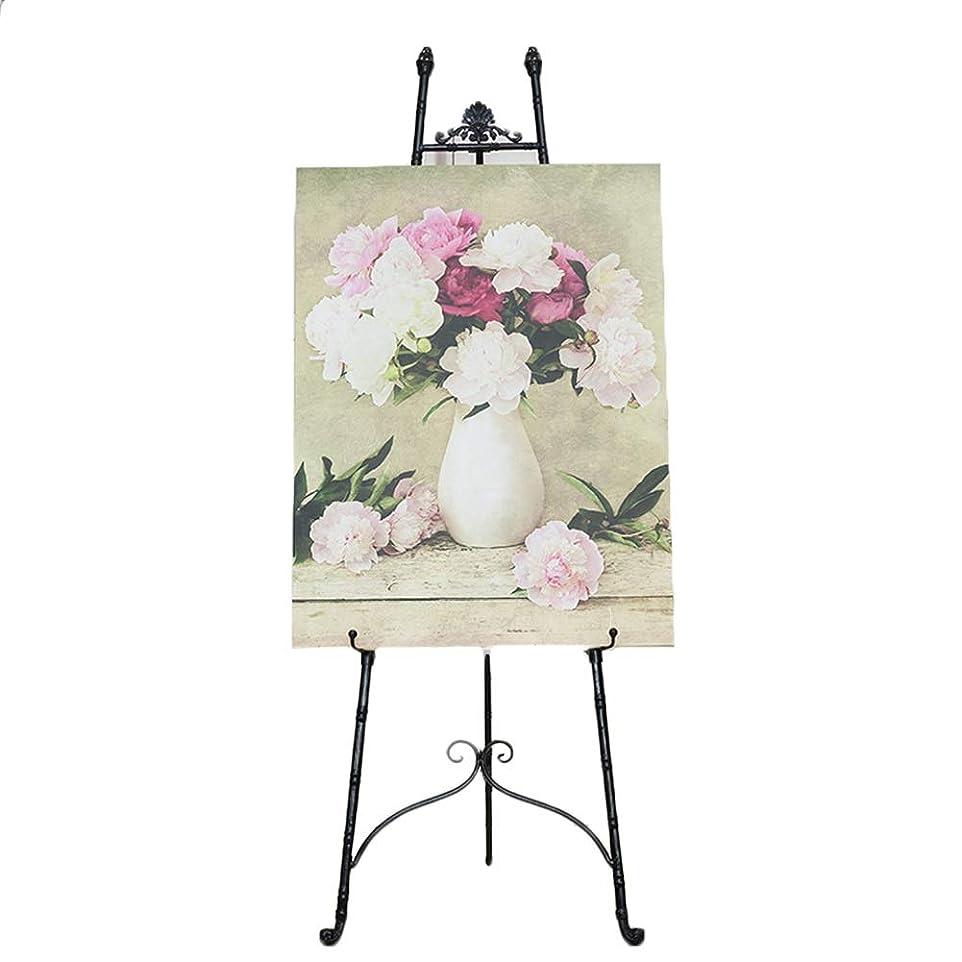 扱いやすいいくつかの勇敢なイーゼル アーティストブラックアイアンイーゼル-絵画、スケッチ、アート&クラフトディスプレイホルダー用の高さ調節可能なフロアスタンド三脚イーゼル