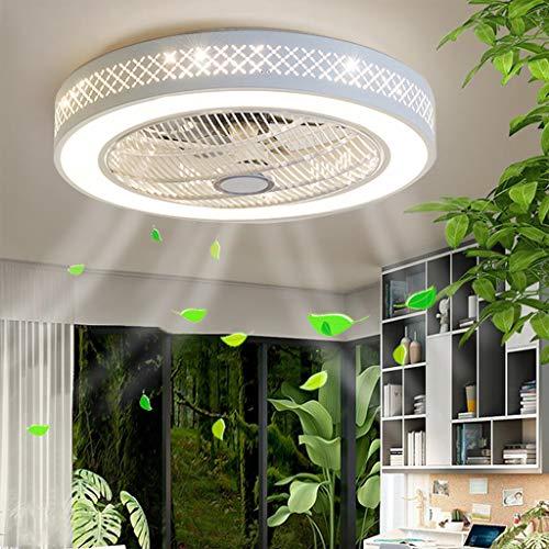 Deckenventilator Mit Beleuchtung LED Weiss Round Lüfter-Licht Dimmbar Deckenlampen 55Cm Ultra-Leise Invisible Fan Deckenleuchten Acryl Modernen 40W Junge Mädchen Schlafzimmer Wohnzimmer Lüfter (D)