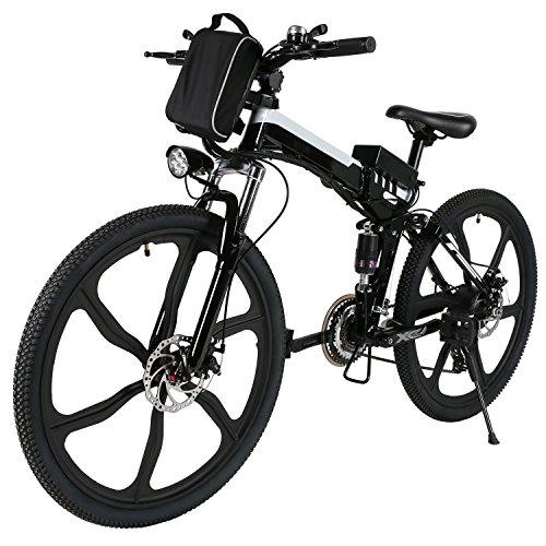 AMDirect Bicicleta Eléctrica de Montaña Plegable 26'' 36V 21 Velocidades Engranaje Shimano (Tipo2 Negro)