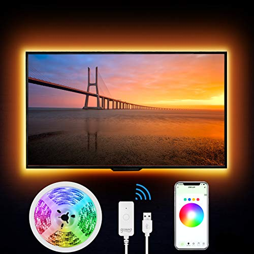 Striscia Led RGB Intelligente, Gosund 2.8M Retroilluminazione Impermeabile Nastro Luminoso LED Multicolor Compatibile con Alexa/Google Home, Nastro LED USB per HDTV da 40-60 Pollici con APP Control