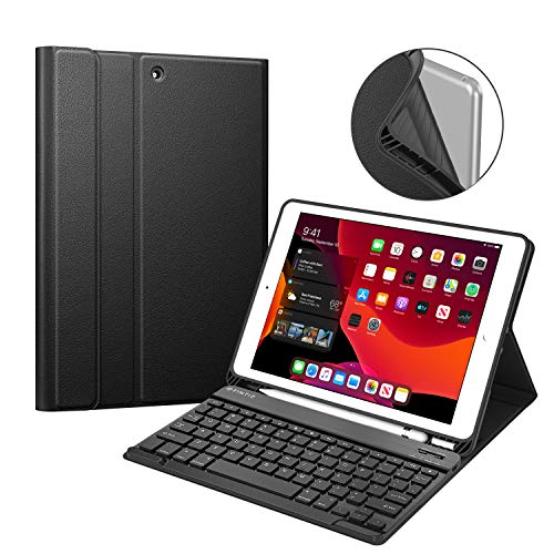 "Fintie Keyboard Case for New iPad 7th Generation 10.2 Inch 2019, Soft TPU Back Stand Cover w/Built-in Pencil Holder, Magnetically Detachable Wireless Bluetooth Keyboard for iPad 10.2"", Black"