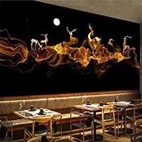 Ljjlm カスタム大壁画ファッションホームセンター抽象的なエルク装飾絵画背景壁壁紙Papelde Parede-200X150Cm