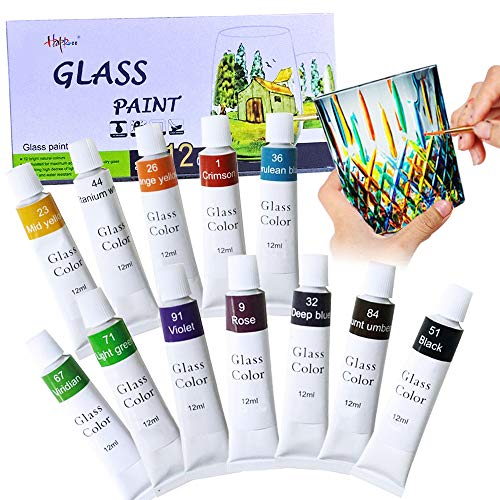 Happlee Stained Glass Paint Non Toxic Porcelain Paint Permanent Acrylic Enamel Paint Translucent Glass Painting